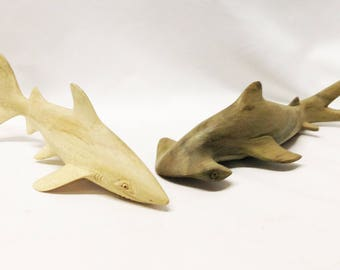 Shark Alert! Cool Sharks Hand-Carved Of Grey Hibiscus Wood in Mas, Bali, Indonesia.