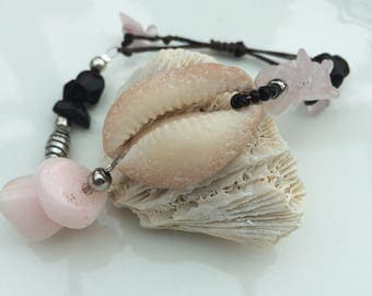 Shell and crystal bracelet