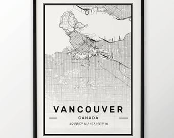 Vancouver City Map Print, Modern Contemporary poster in sizes 50x70 fit for Ikea frame 19.5 x 27.5 All city available London, New York Paris