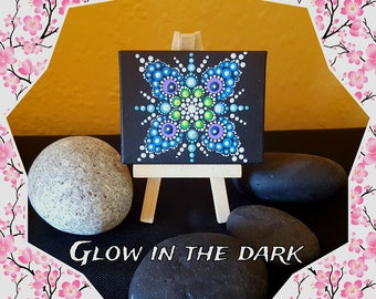 "BarbaraMandalaTFS#53  Mandala ""Mini"" Canvas#Glow in the dark#9x7cm#Special Gift"