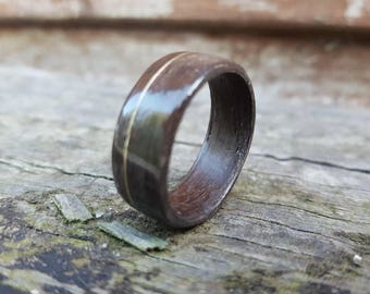 Fumed Oak Ring With 14carat Gold Filled Wire Inlay