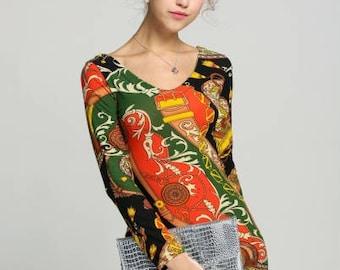 V-neck Long Sleeve Mini Dress