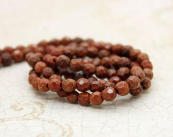 Fossil Coral Faceted Round Natural Gemstone Beads (3mm)