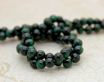 Green Tiger Tiger's Eye Smooth Round Natural Gemstone Beads (4mm)