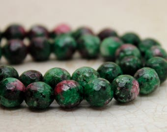 Dye Ruby Zoisite Faceted Round Gemstone Beads (8mm)