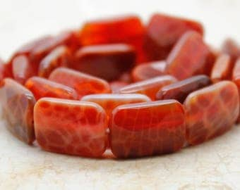 Red Fire Agate Flat Faceted Rectangle Gemstone Beads