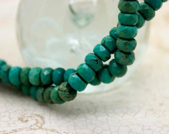 Tibet Turquoise Faceted Rondelle Natural Gemstone Beads (2mm x 4mm, 4mm x 6mm, 5mm x 8mm, 6mm x 10mm)