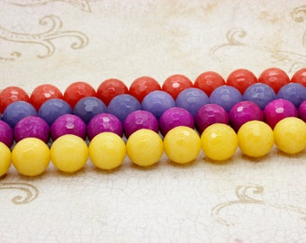 Dye Jade Faceted Round Gemstone Beads 9mm (Yellow Purple Hot Pink Orange- Full Strand)