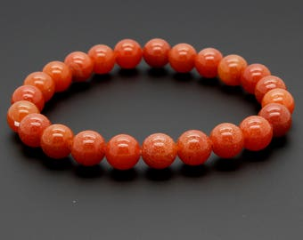 "Smooth Orange Beads Size 8mm. Length 8"" Semi-Precious Gemstone Elastic Cord Bracelet Accessories"