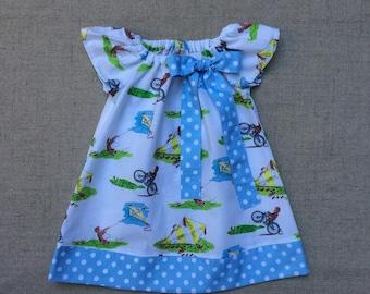 Handmade Curious George Dress, Handmade Flutter Sleeve Dress, Girls Summer Dress