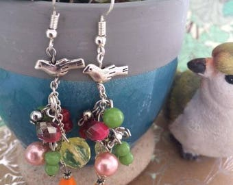 """Earrings """"the birds are singing"""" silver plate beads bird and multicolored beads"""
