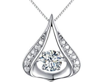 Dewdrop Dancing Stone 925 Silver  Necklace