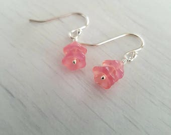 Vintage pink glass flower earrings, sterling silver.