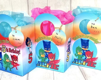 PJ Mask Birthday Party Bag Box Personalised an a blank tag
