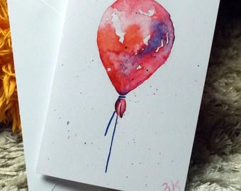 balloon // watercolor card // blank card // print