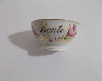 """Vintage French Cafe au Lait Bowl Roses """"bonte"""""""