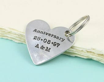Personalised Pewter Anniversary Heart Keyring Or Token