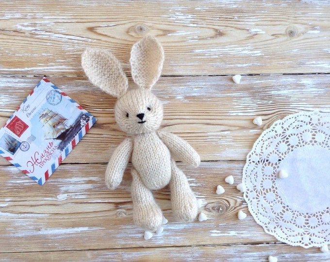 Newborn props, photo props, hand knitted bunny rabbit, 6 inch soft plush toy, stuffed animals, first birthday gift, softies, knit toy
