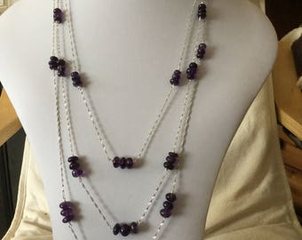 Amethyst triple strand Sterling silver necklace and earrings