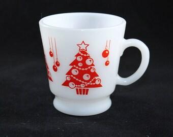 Hazel Atlas Red Christmas Tree Mug