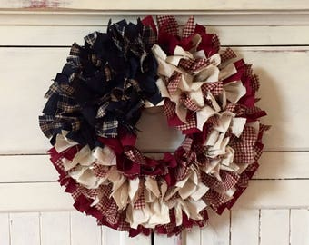 BUY 2 Discount - Wreath or Candle Ring - AMERICANA - Patriotic Wreath - Country Americana Decor - Red White Blue - Stars and Stripes