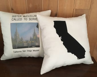 State Pillow Cover, Missionary Pillow, Mission Pillow, Country Pillow