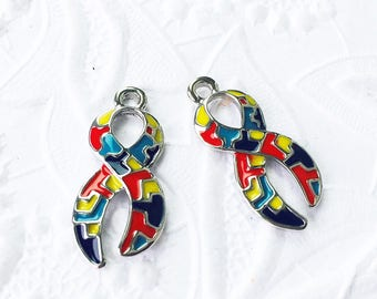 2 Autism Ribbon Charms, Autism Awareness Ribbon, Autistic Puzzle Charms, 24mm x 11mm, SP049