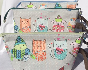 Winter Animals knitting and crocheting project bag