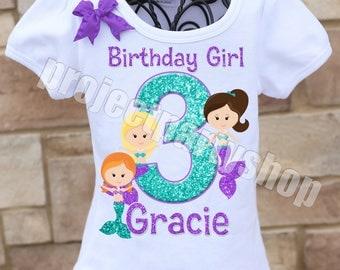 Mermaid Birthday Shirt, Under the Sea Birthday Shirt, Purple and Teal Mermaid Birthday Shirt