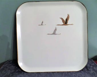 Vintage Nashco Metal Tray with Geese.