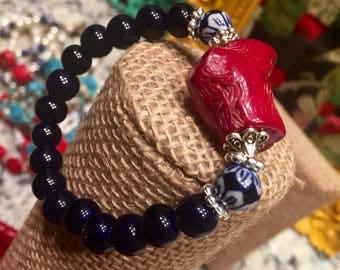 Red coral stone with ink blue beads