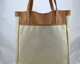 GUCCI Vintage Large Tote Bag // Shoulder Bag Monogram Canvas and Tan Leather