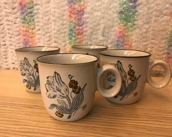 Set of 4 Noritake Winterrose Mugs made in Japan vintage stonewear