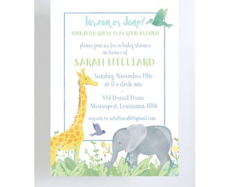 Jungle Theme Invitation // Gender Neutral Baby Shower // Jungle Theme Baby Shower