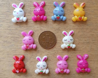 set if 10 resin flatback bunny rabbits