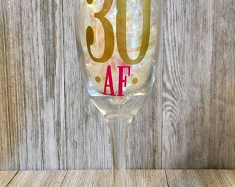 Birthday Champage Flute/ 30th Birthday Glass /Custom Champagne Flutes