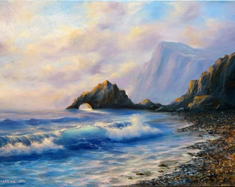 Coastal Landscape Painting Original Landscape Coastal Landscape Oil Paintings Seascape Ocean Waves Painting Original Seascape Oil Paintings