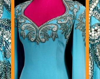classy turquoise dress//vtg bling