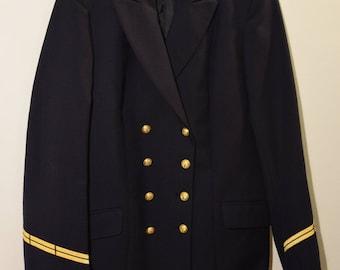 Vintage french genuine navy uniform officer wool jacket vintage French Navy, with military uniform /M/ wool.