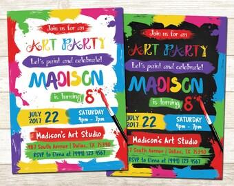 Art Party Birthday Invitation - Art Birthday Party - Colorful Birthday invitation - Paint Party Birthday invitation - Painting Party Invite