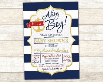 Baby Shower Invitation - It's a Boy Baby Shower Invitation - Ahoy It's a Boy Baby Shower Invite - Blue Navy Baby Shower