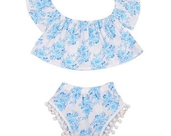 Infant 2 piece blue sunsuit