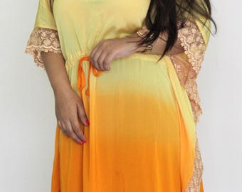 Womens Cotton Caftan Pure Silk Cover Up, lace caftan, casual cover up, ombre caftan