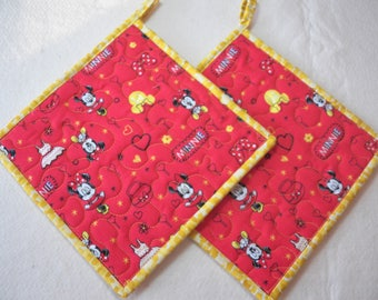 "TWO Disney Potholders, Quilted Potholders, 8.5"" Square, Minnie Mouse, Mickey Mouse, Quilted Snack Mats, Quilted Mug Rugs, Hostess Gift"