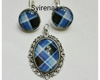 Set earrings and pendant blue madras