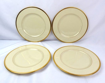 """Lenox China TUXEDO Dinner Plate Set of 4 Gold Backstamp - (""""Presidential Collection"""")"""