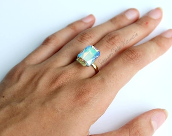Adjustable Ring // Holo Swarovski Crystal