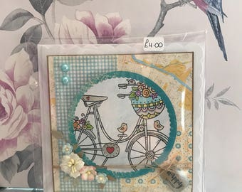 Handmade handstitched floral bicycle happy birthday card