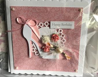 Handmade floral heel/shoe happy birthday card