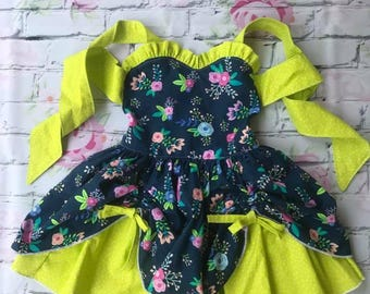 Floral dress with lime green ties
